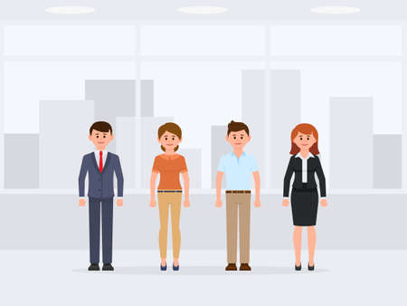 Office people standing cartoon character. Front view of happy colleagues