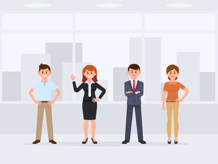 Happy coworkers standing at the office cartoon character. Front view of young happy colleagues Illusztráció