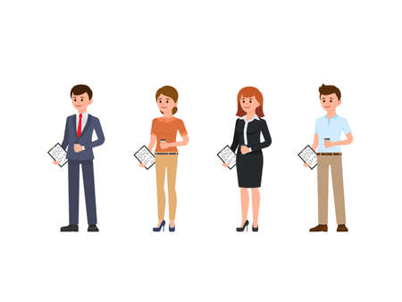 Male and female office stuff cartoon character. People standing with cup of coffee and notes