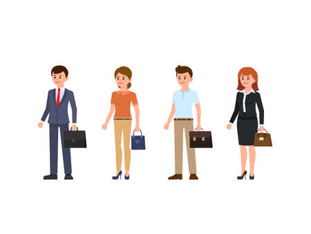 Business people cartoon character set. Young men and women standing with briefcase and bag Illusztráció