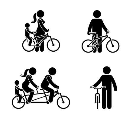 Stick figure happy family riding bike pictogram. Mother, father and child spending time together