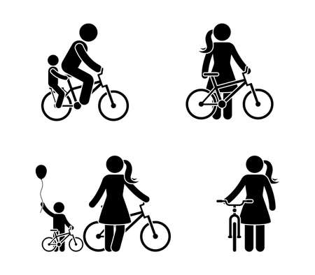 Stick figure man and woman bicycle icon. Riding bike happy people