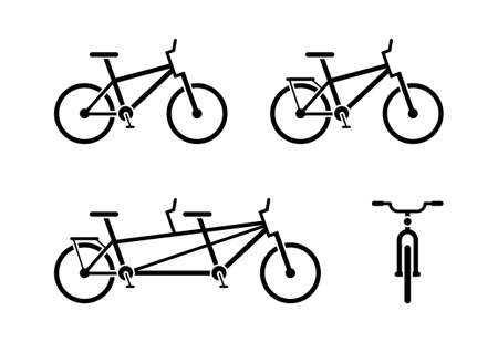 Bicycle icon pictogram. Classic, tandem bike symbol. Front and side view