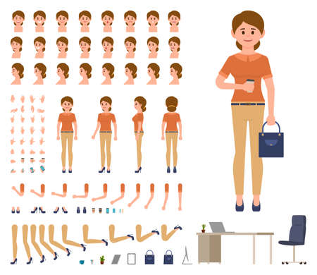 Business woman in casual office look character creation set. Cartoon style manager constructor kit Vettoriali