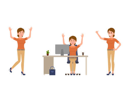 Happy office woman cartoon character. Joyful manager female at workplace