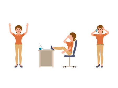 Unhappy office woman cartoon character. Upset lady manager sitting, standing, talking on phone Иллюстрация