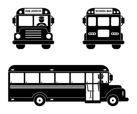 School bus black symbol set. Front, side and back view on white