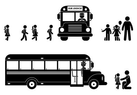 Stick figure children boarding bus icon. Back to school boys and girls symbol