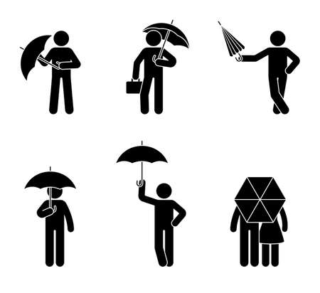 Stick figure man with umbrella icon set. Male under the rain in different poses