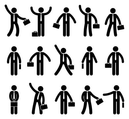 Stick figure business man icon set. Office worker standing with briefcase in various poses