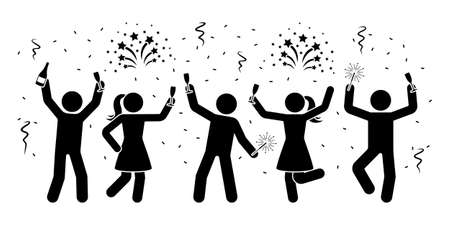 Happy stick figures celebrating New Year night icon. Men and women firework, serpentine, sparkler pictogram Ilustracja
