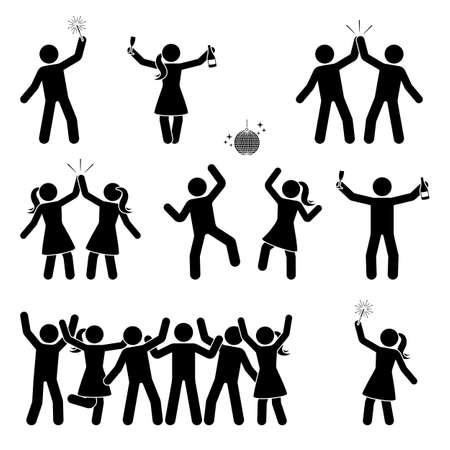 Strichmännchen, das Menschen-Icon-Set feiert. Glückliche Männer und Frauen tanzen, springen, Hände hoch Piktogramm