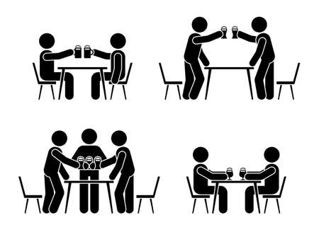 Stick figure men drinking beer icon. Happy celebration of young people pictogram