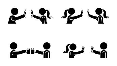 Stick figure men and women drinking wine, beer, champagne icon. Happy celebration of young people pictogram Illustration