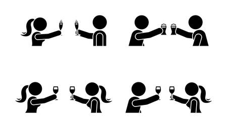 Stick figure men and women making toast with wine, beer, champagne icon. Happy celebration of young people pictogram