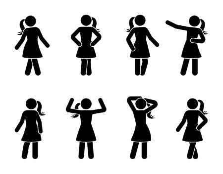 Stick figura mujeres posando conjunto de iconos. Pictograma de postura de vista frontal de joven de pie Ilustración de vector