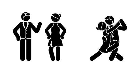 Stick figure tango couple icon set. Man and woman on the dance floor pictogram