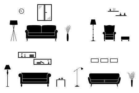 Jeu d'icônes d'intérieur à la maison. Silhouette de salon noir et blanc
