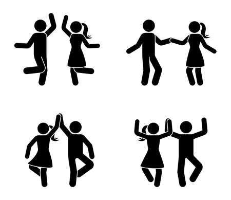 Happy male and female stick figure dancing together. Black and white party icon pictogram Çizim