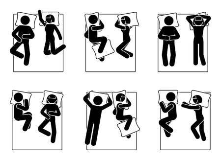 Stick figure different sleeping positions set. Man and woman laying in bed postures