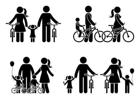 Stick figure family with bike pictogram. Mother, father and kids spending time together