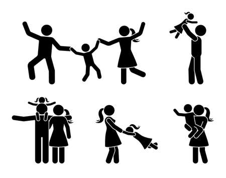 Stick figure happy family having fun icon set. Parents and children playing together pictogram