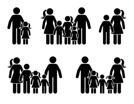 Stick figure parents and children icon set. Big happy family black pictogram