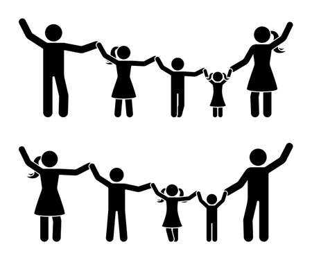 Stick figure hands up happy family icon set.Parents and children having fun together pictogram