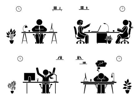 Stick figure business people icon set. Men and women sitting in office pictogram