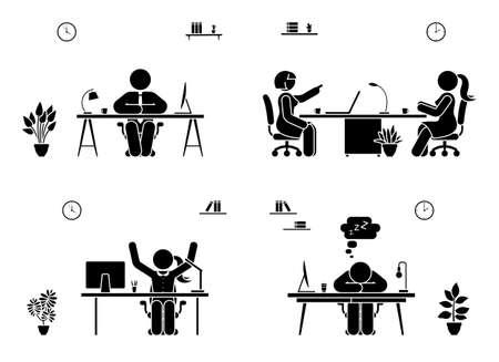 Stick figure jeu d'icônes de gens d'affaires. Hommes et femmes assis dans le pictogramme de bureau
