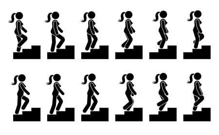 Stick figure femelle sur le jeu d'icônes d'escaliers. Femme de vecteur marchant étape par étape séquence pictogramme