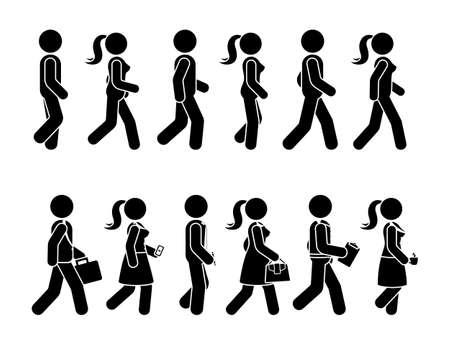Strichmännchen zu Fuß Mann und Frau Vektor Icon Set. Gruppe von Personen, die sich vorwärts-Sequenz-Piktogramm bewegen