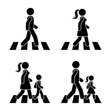Strichmännchen zu Fuß Fußgänger Vektor Symbol Piktogramm. Mann, Frau und Kinder, die Straßenset überqueren