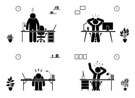 Tired, stressed, unhappy, bored stick figure man office vector icon set. Hard working business person pictogram