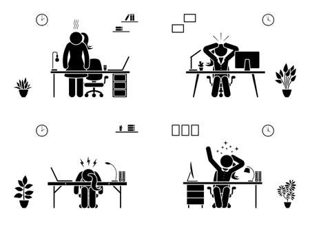 Tired, stressed, unhappy, bored stick figure woman office vector icon set. Hard working business lady pictogram