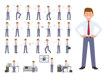 Cartoon character of office manager different poses, emotions design set. Happy, sad, surprised, angry young man in business clothes standing, sitting on white background - Vector