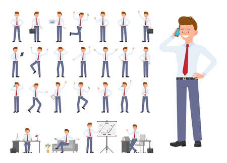 Cartoon character of office man different poses, emotions design set. Happy, sad, surprised, angry young male in business clothes standing, sitting on white background - Vector