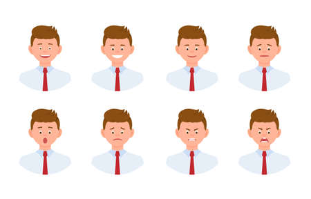 Emotional face cartoon character young office man design set. Happy, smiling, upset, surprised, sad, angry, shouting person flat concept on white background - Vector