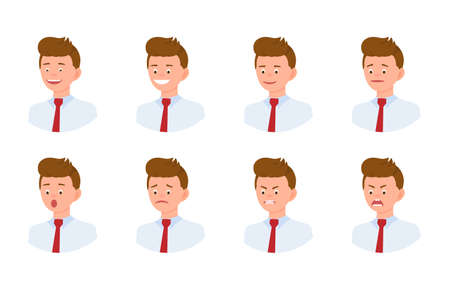 Emotional face 34 view cartoon character young office man design set. Happy, smiling, upset, surprised, sad, angry, shouting person flat concept on white background - Vector Çizim