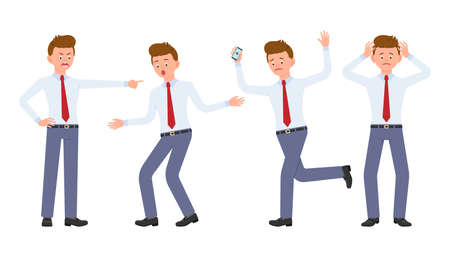 Young office worker in formal wear shouting, pointing finger, surprised, upset, shocked. Cartoon character design of stressed man at work concept - Vector Çizim