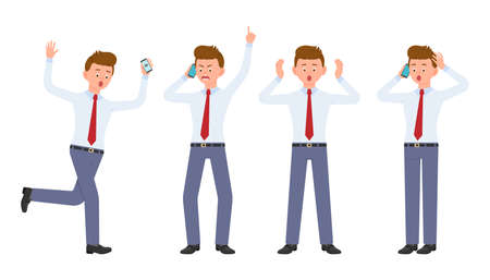Young office worker in formal wear running in shock, shouting, surprised, amazed, calling, talking. Cartoon character design of angry, stressed man using smartphone emotions concept - Vector