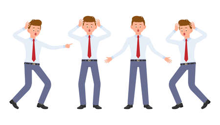 Young office worker in formal wear shocked, surprised, amazed, under the pressure. Cartoon character design of stressed, worry, nervous, scared man emotions concept - Vector Çizim