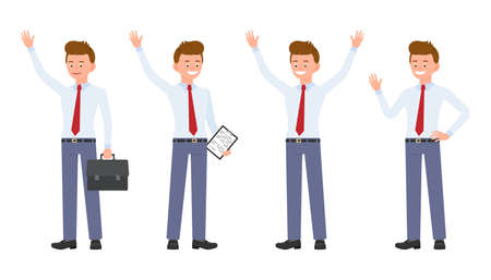Young, handsome, happy office worker in formal wear waving, standing hands up, saying hello. Cartoon character design of cute, friendly adult man joyful, carefree emotional concept - Vector