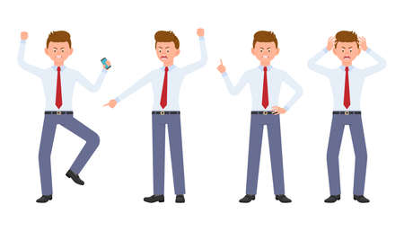Young office manager in formal wear angry, stressed, desperate. Cartoon character design of shouting, pointing finger, unhappy man emotions concept - Vector Çizim