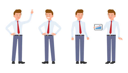 Young, handsome, happy office worker in formal wear standing with tablet, showing victory sign, smiling. Cartoon character design of cute, friendly adult man calm, carefree emotional concept - Vector