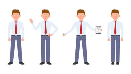 Young, cute, happy office worker in formal wear standing with notes, waving hello, writing, smiling. Cartoon character design of handsome, friendly adult man calm, carefree, cheerful emotional concept - Vector