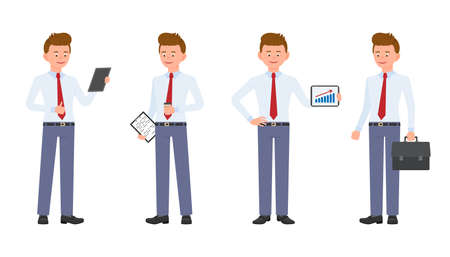 Young, cute, happy office man in formal wear standing with notes and coffee, tablet, briefcase. Cartoon character design of handsome, friendly adult person joyful, carefree, cheerful emotional concept - Vector