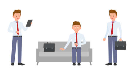 Young, handsome, happy office manager in formal wear standing with tablet, briefcase, crossed hands, sitting on sofa. Cartoon character design of cute, friendly adult man working, waiting, corporate emotional concept - Vector