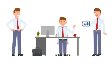 Young friendly office manager in formal wear sitting at the desk, pointing finger, showing infographics. Cartoon character design of handsome man smiling, reporting, standing confidently emotional concept - Vector