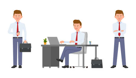 Young friendly office manager in formal wear sitting at the desk, holding coffee and briefcase, using laptop. Cartoon character design of handsome man smiling, typing, standing confidently emotional concept - Vector Çizim